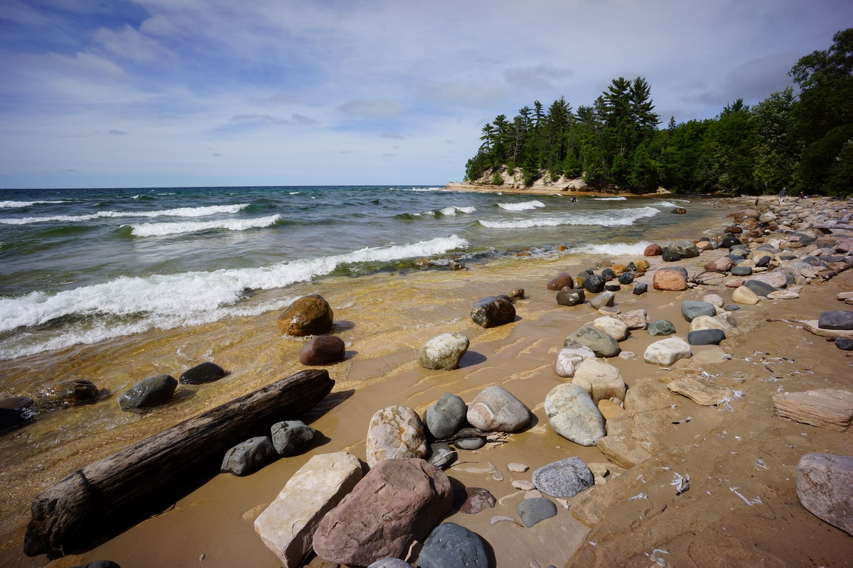 rocky shoreline of mosquito beach at pictured rocks national lakeshore, mi
