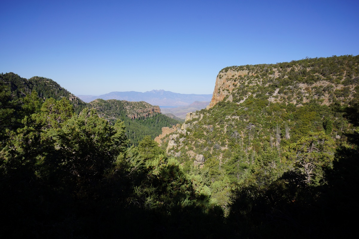 View from the Parker Creek trail below Carr Ridge in the sierra ancha wilderness