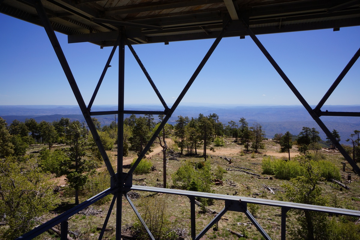 view of the sierra ancha wilderness from the fire tower on top of aztec peak
