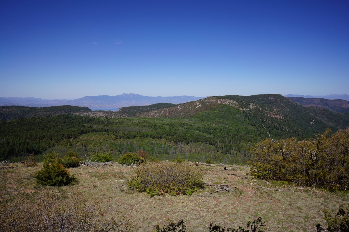 view of the four peaks and theodore roosevelet lake from the fire tower on aztec peak