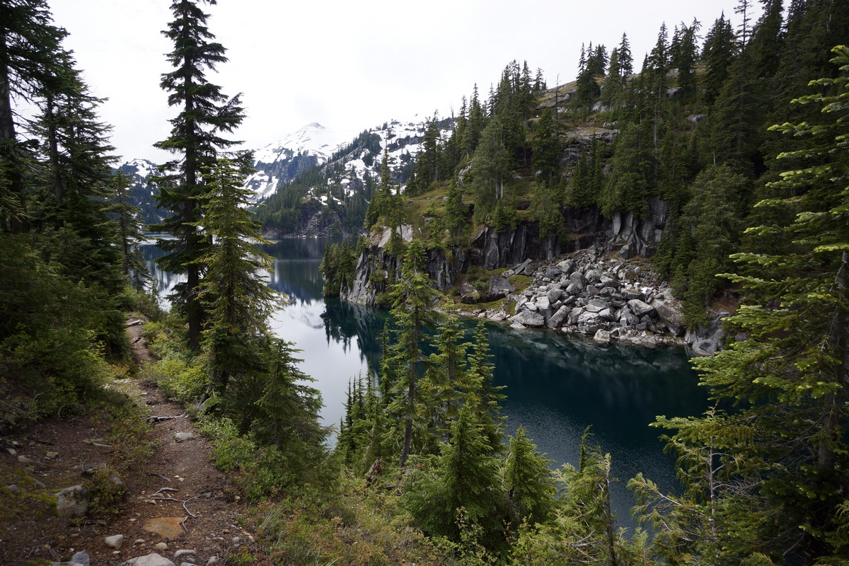 view of big heart lake from the trail