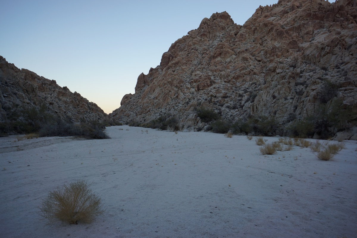 hiking a sandy wash in the inner basin of the coxcomb mountains