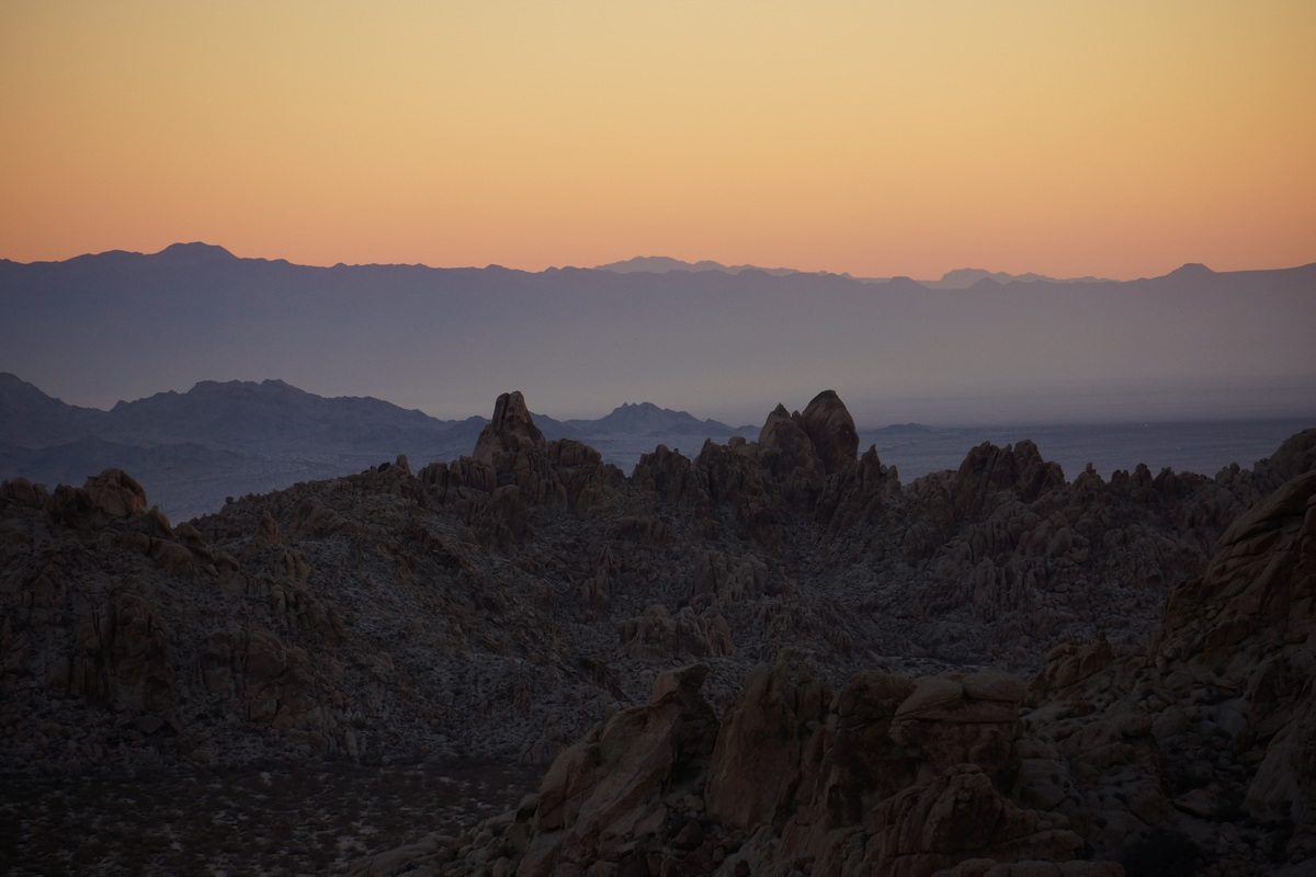 mosaic of colors at sunrise in the coxcomb mountains