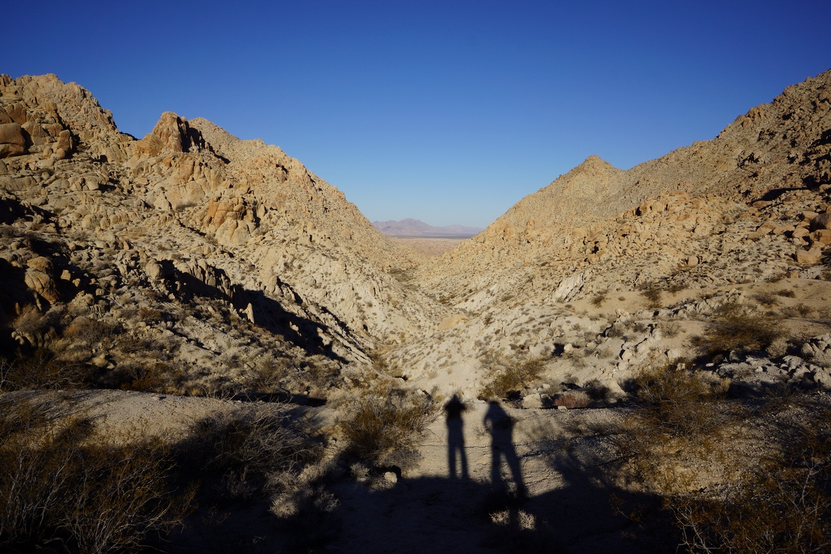 shadows of hikers in the coxcomb mountains