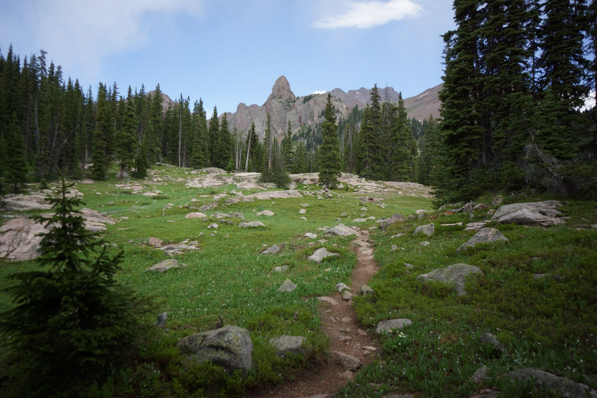 mountain peaks beyond the meadow in eagles nest wilderness below gore lake