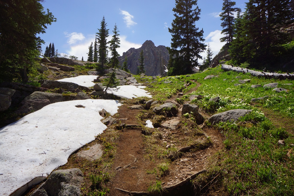 hiking trail just below gore lake in eagles nest wilderness colorado
