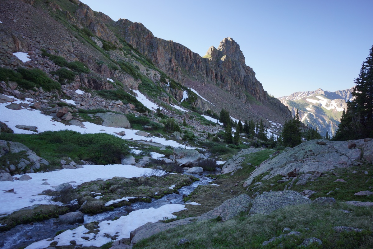 creek runs through a mountain valley in eagles nest wilderness