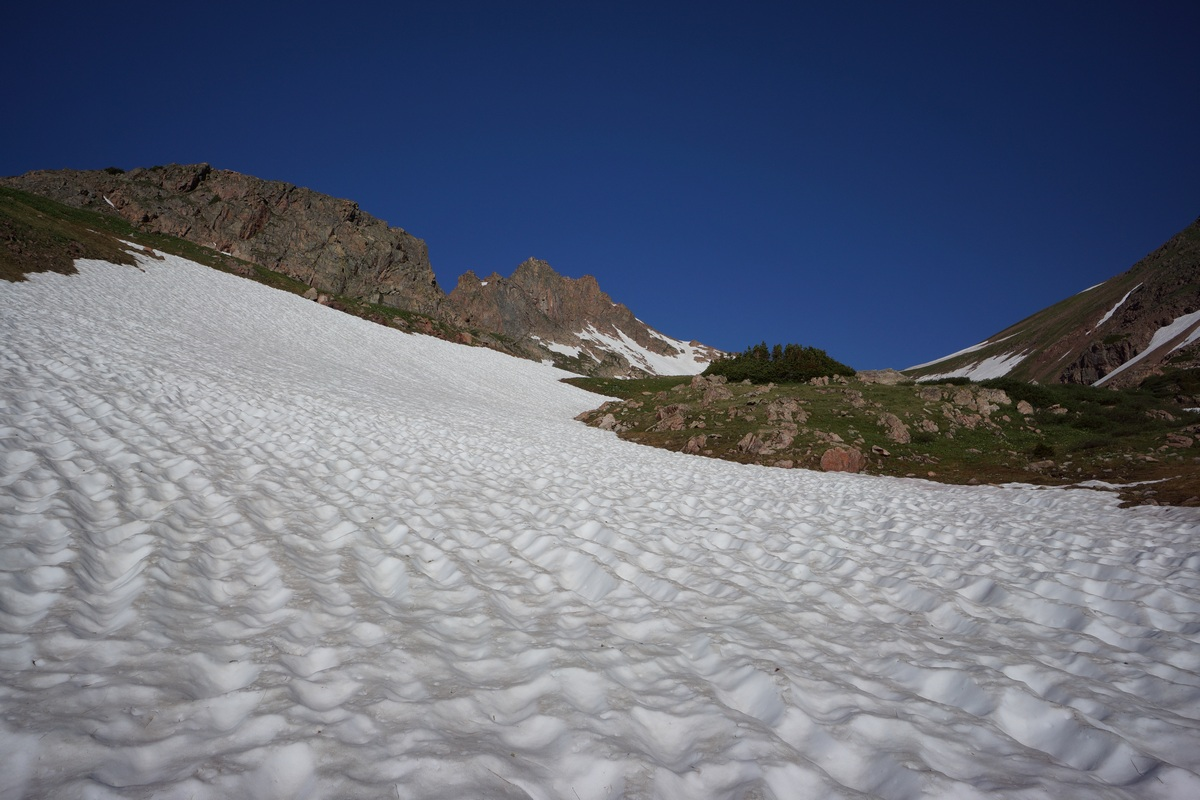 remaining snowpack in july near snow lake in the gore mountains of colorado