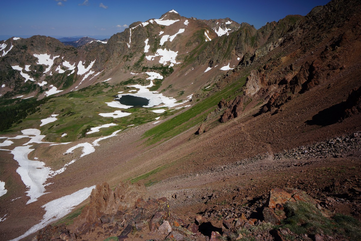 view of the trail to deluge lake from the top of snow peak in the eagles nest wilderness