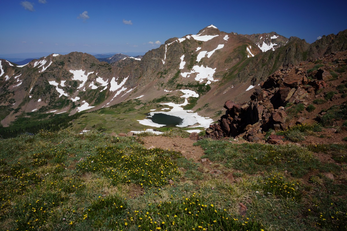 view of deluge lake from snow pass in the gore mountains