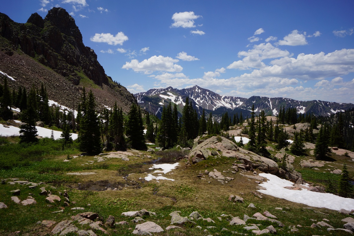 hiking between snow lake and gore lake in colorado's gore mountains