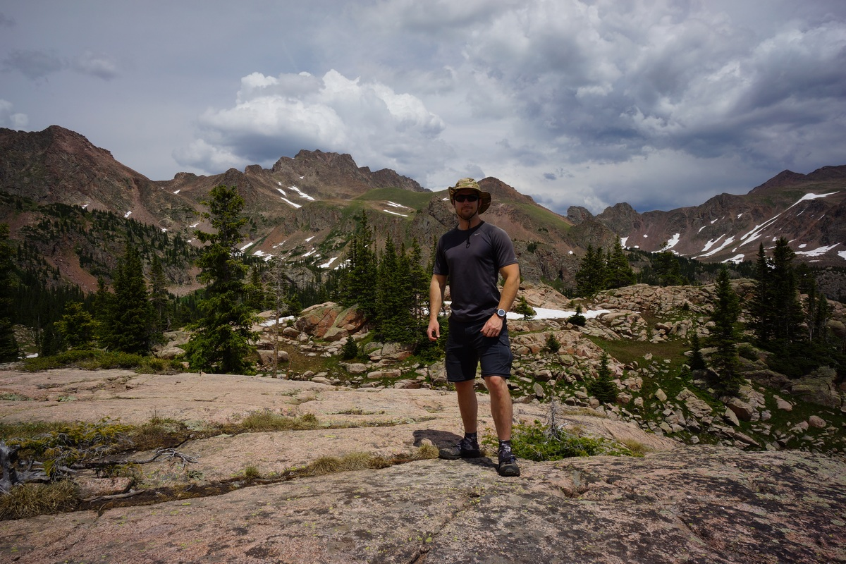 hiker in gore mountains as storm approaches