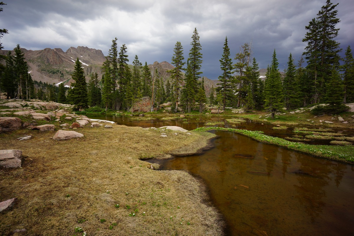 dark skies over high alpine pond in gore mountains