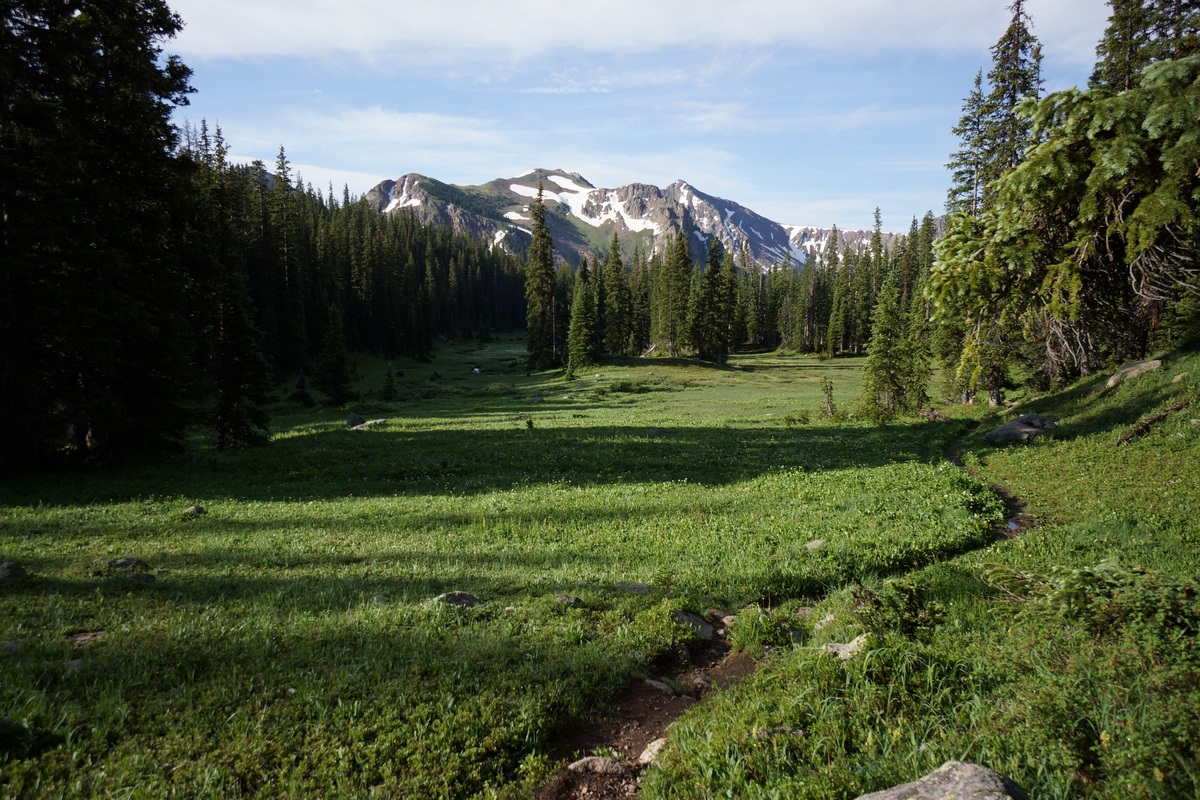 hiking through green meadow in gore mountains