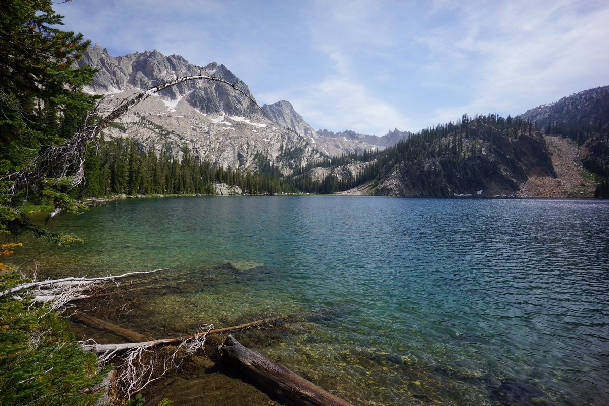 sawtooth wilderness view of upper cramer lake in august