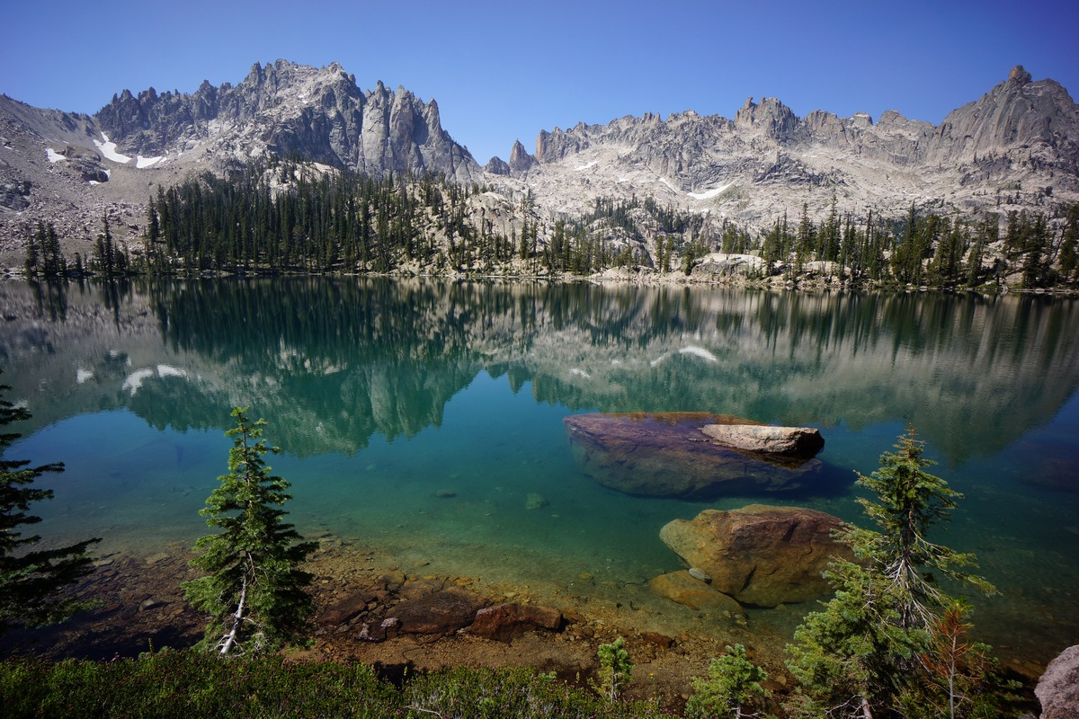 sawtooth wilderness mountain photography - upper baron lake