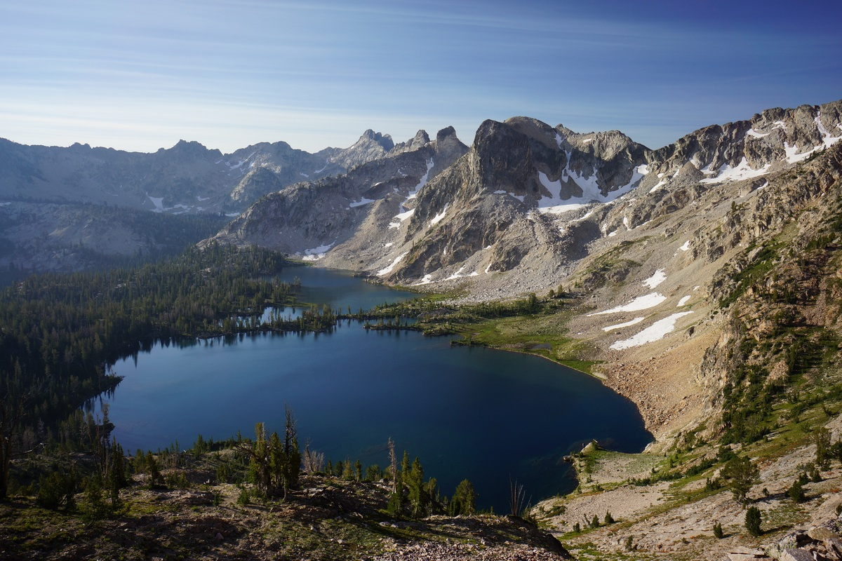 view of twin lakes from the pass separating alice and toxaway lakes
