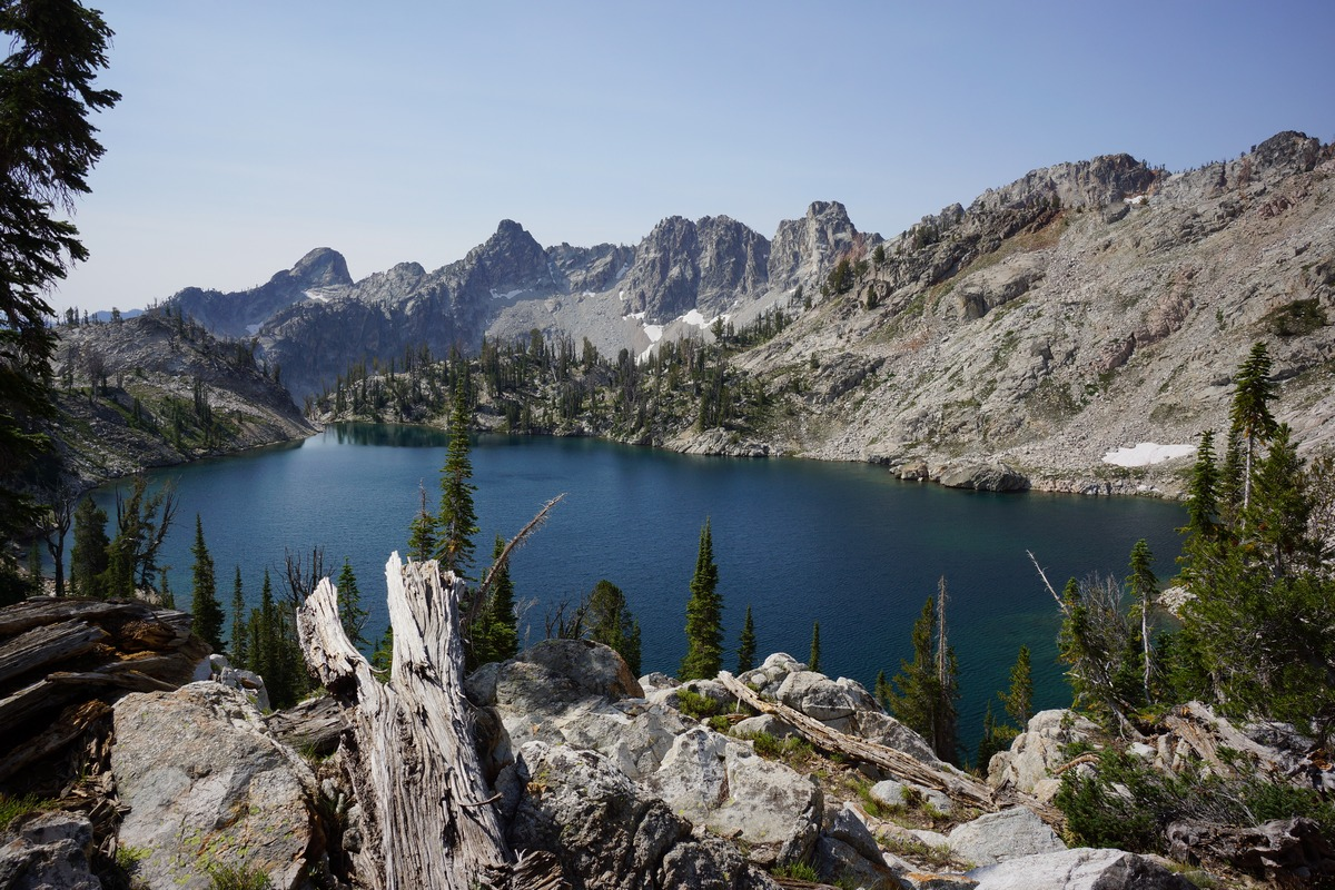lake 9050 in the sawtooth wilderness, upper alpine creek basin