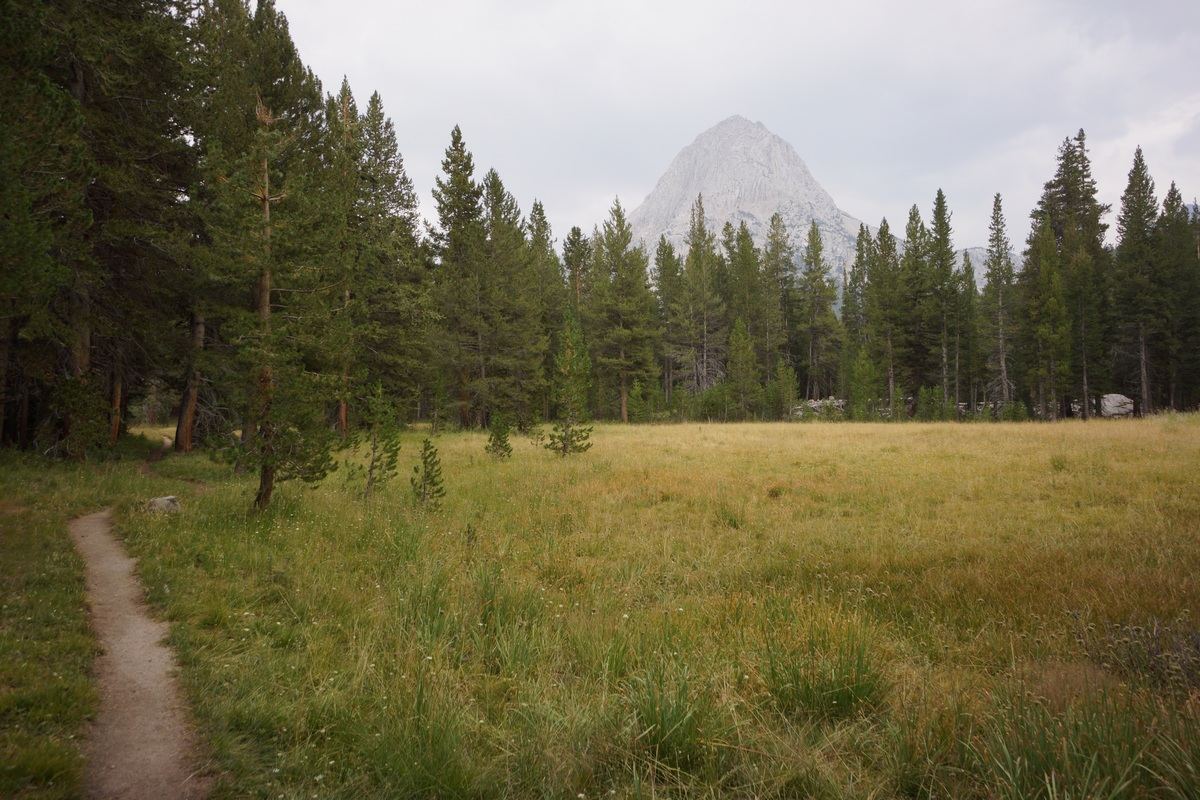 view of The Hermit from the John Muir Trail in Evolution Valley