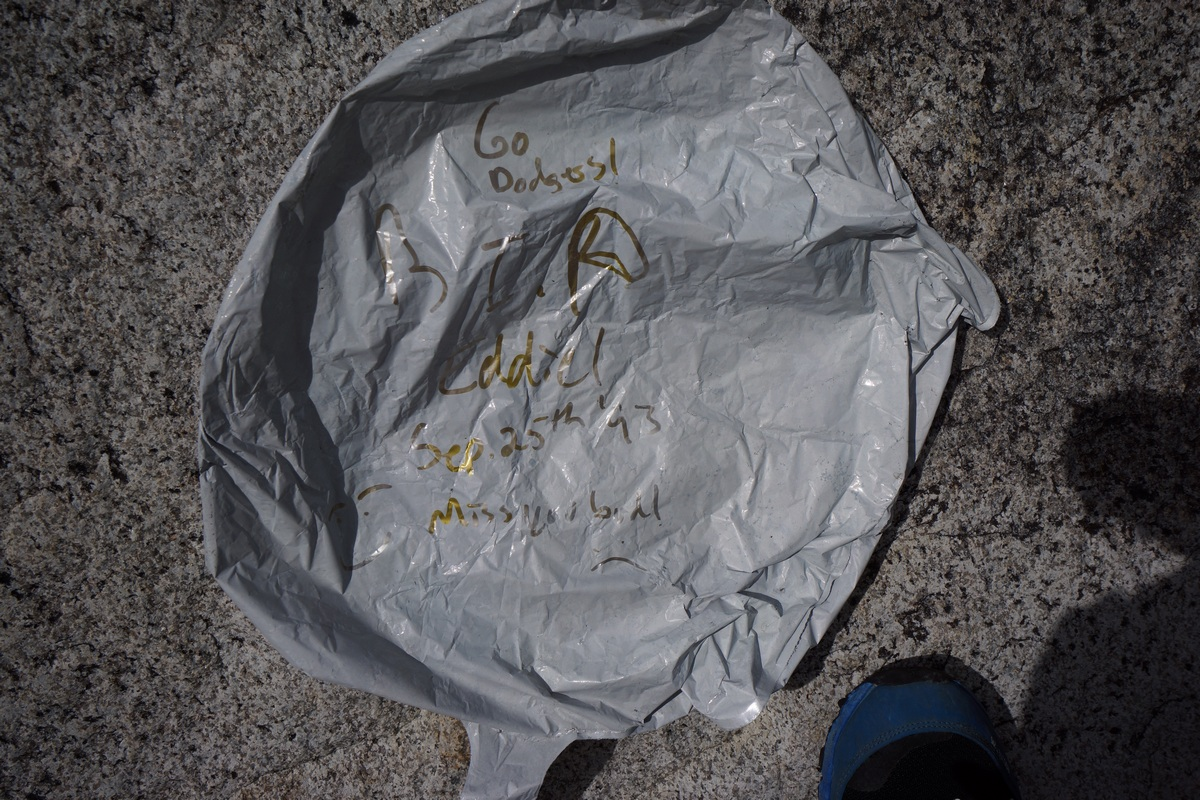 trash balloon found in the sierra mountains