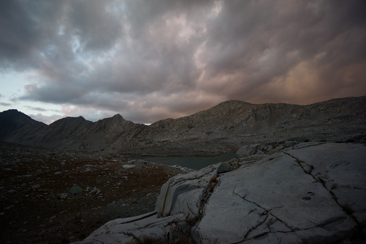 stormy looking clouds at sunset in the sierras