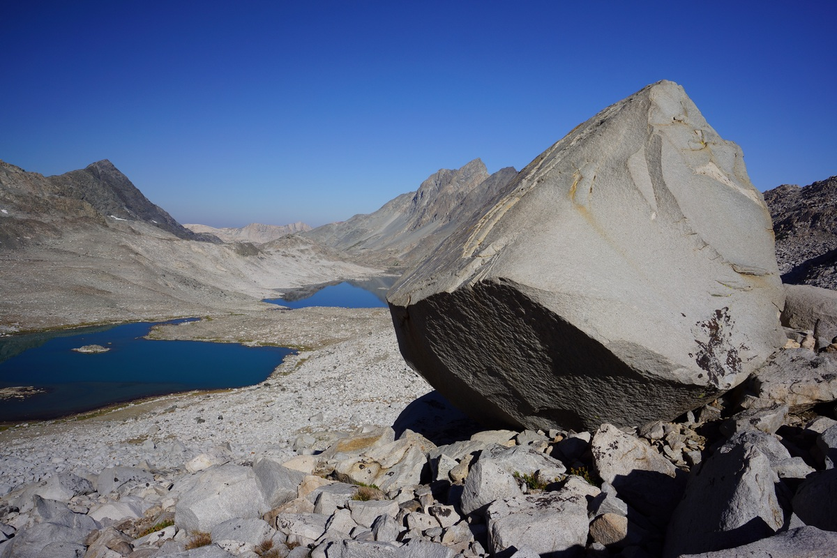 Hiking up Davis Lakes Pass, looking back towards Lake 11,196 and Davis Lake