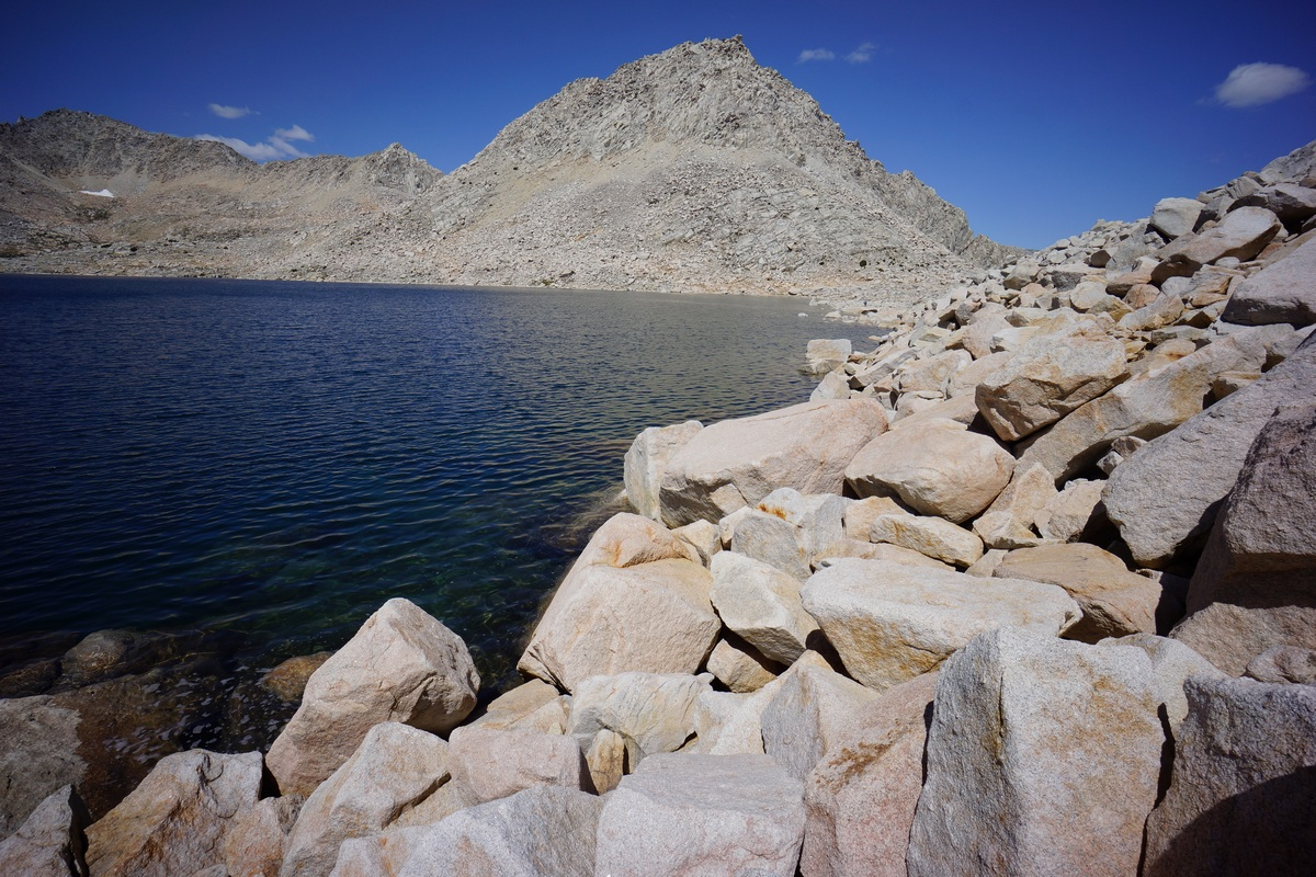 Boulders along the shore of Royce Lake #4. Peak 12,470 in the center