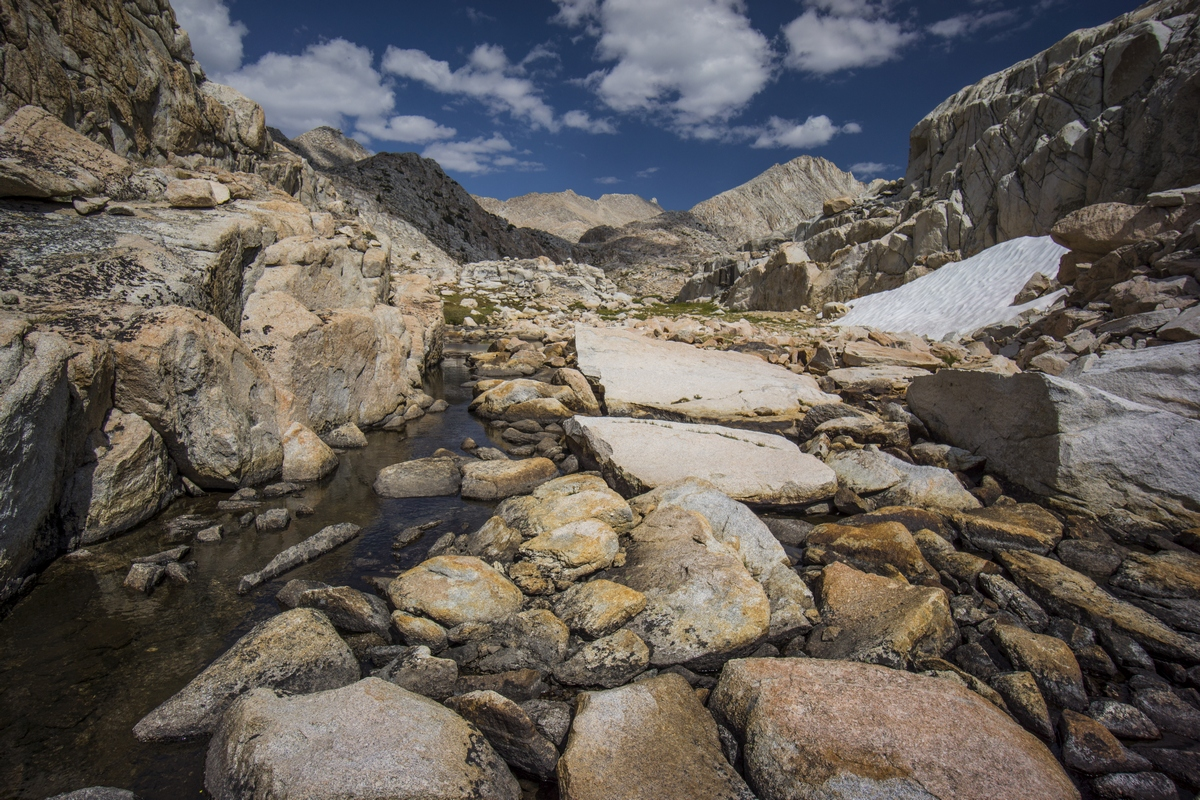 stream runs through boulders in bear basin