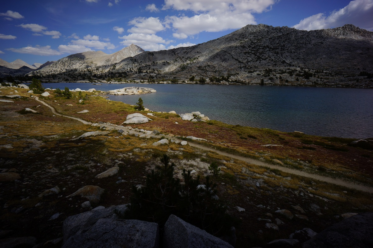 pacific crest trail winds along the shores of marie lake