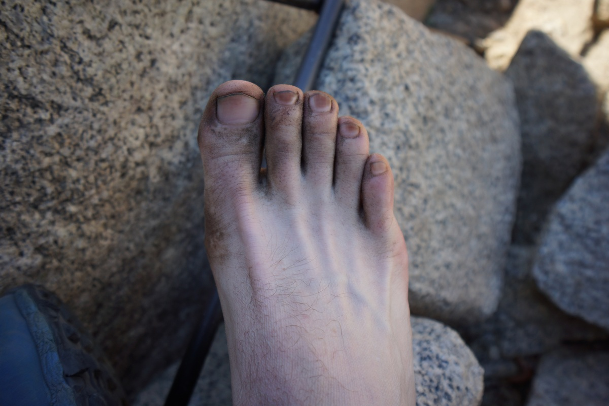 How my feet looked everyday. The Inov8 Roclite 295s do a piss poor job of keeping the fine debris out.