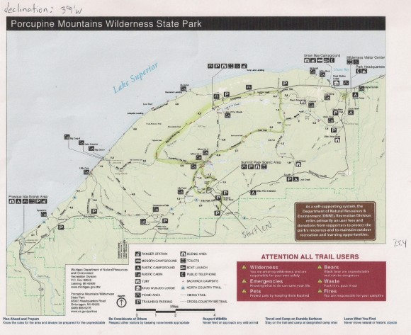 michigan porcupine moutains hiking trail map