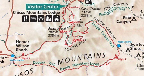 big bend national park outer mountain loop 5 day hike route