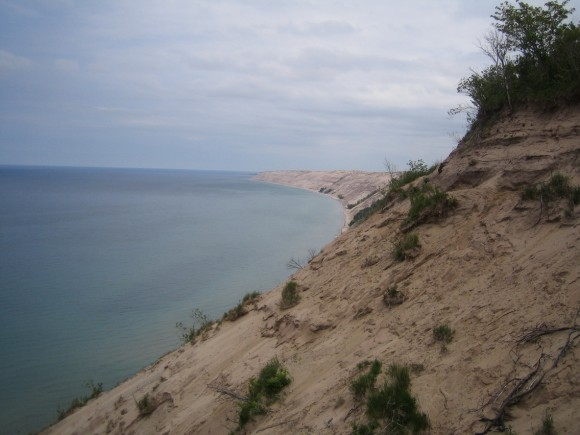 pictured rocks dunes view form log slide