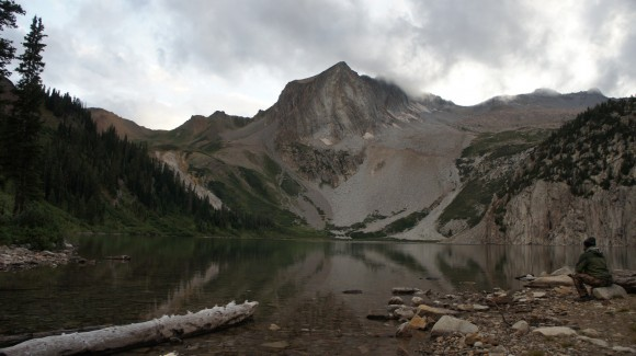 view from snowmass lake shore near camp