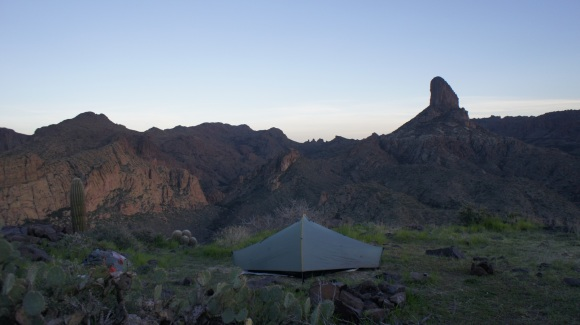 campsite on black top mesa in the superstition wilderness, arizona