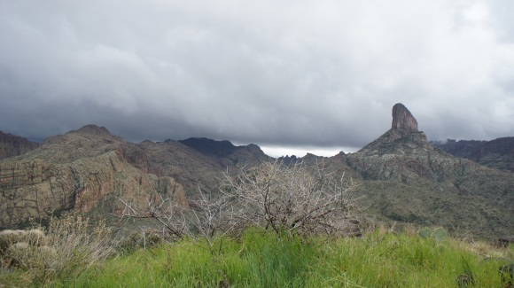 dark clouds over weaver's needle