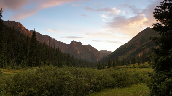 watching the sun set in chicago basin from our campsite