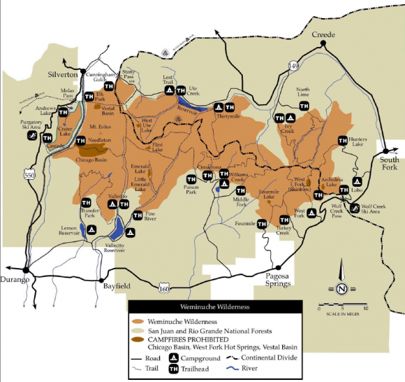 a map of the weminuche wilderenss that shows trailhead locations