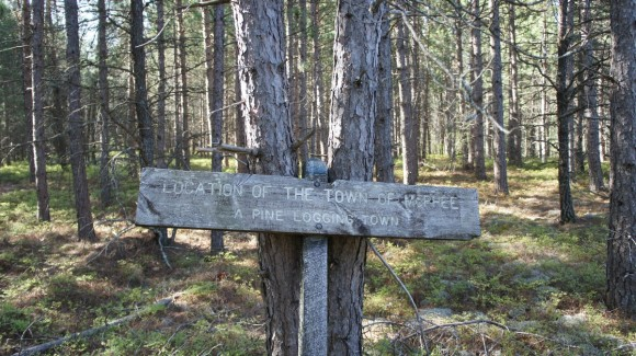 "sign that says ""the location of the town of McPhee - a pine logging town"""
