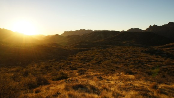 superstition wilderness sunset on the woodsbury trail