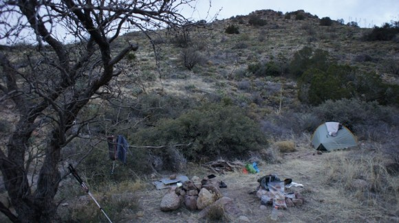 campsite at clover spring int he superstition wilderness