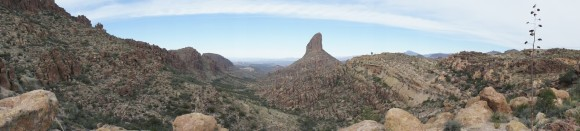 panorama photo of weavers needle from fremont saddle
