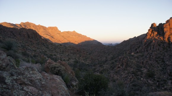 view of west boulder canyon as i climb up to superstition ridgeline