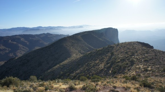 looking at the southern end of the superstition ridgeline