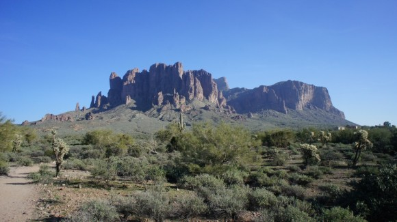 view of the superstition mountains from lost dutchman state park