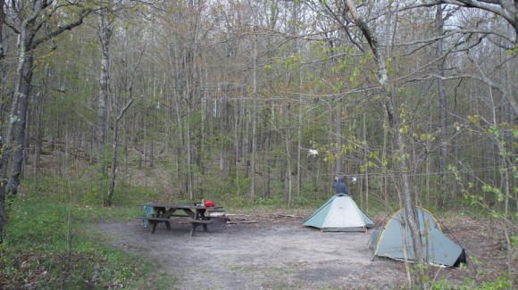 our campsite at pinney bridge campground