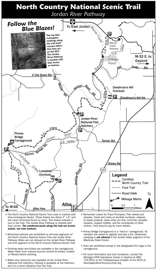 map of the warner pathway and jordan river pathway