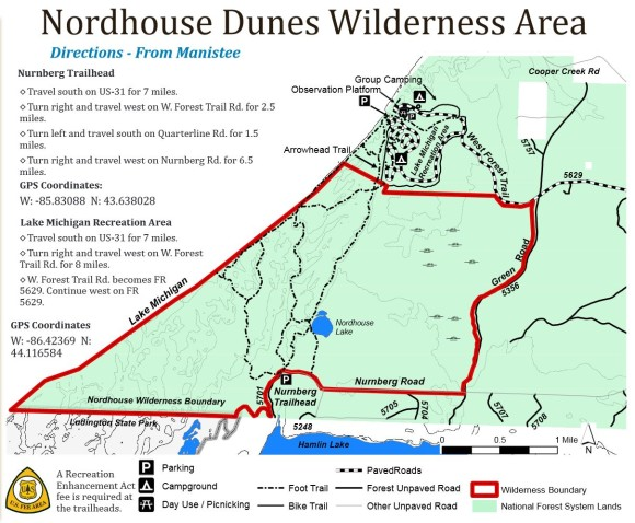 map of norhouse dunes wilderness including trail heads