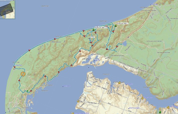 nordhouse dunes route hiked shown on map