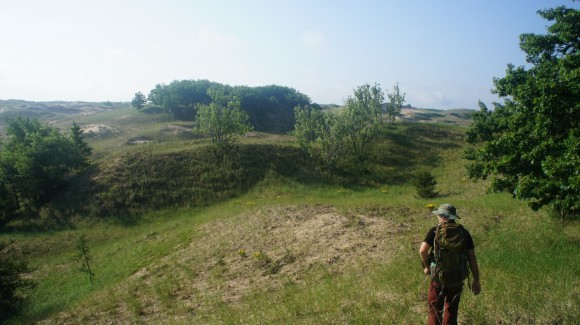 hiking through grassy dunes in michigan